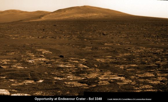 Opportunity rover's view across Botany Bay to Solander Point - her next destination - as NASA celebrates 10 Years since blastoff for Mars on July 7, 2003.  The rover will climb up Solander Point because it which may harbor clay minerals indicative of a past Martian habitable environment. This pancam mosaic was assembled from raw images taken on Sol 3348 (June 24, 2013.  Credit: NASA/JPL/Cornell/ASU/Marco Di Lorenzo/Ken Kremer (kenkremer.com)