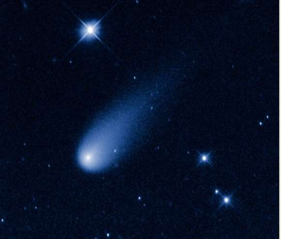 A false-color, visible-light image of Comet ISON taken with Hubble's Wide Field Camera 3. Credit: NASA, ESA, and the H