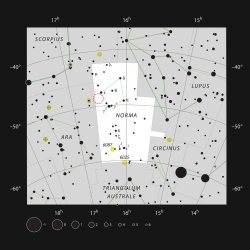 The location of SDC 335.579-0.292 in the southern constellation of Norma (ESO, IAU and Sky & Telescope)