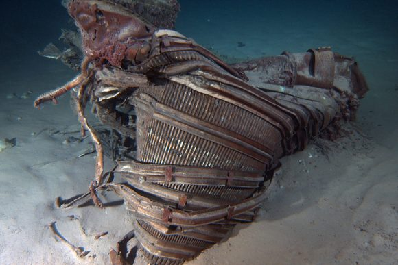 Saturn V F-1 Engine Nozzle recovered from the floor of the Atlantic Ocean. Credit: Jeff Bezos Expeditions