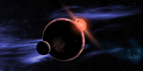 An artist's concept of a rocky world orbiting a red dwarf star. (Credit: NASA/D. Aguilar/Harvard-Smithsonian center for Astrophysics).