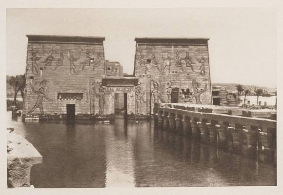 The flooded Temple of Isis on the island of Philae circa 1905. (Credit: Wikimedia Commons under an Attribution-Share Alike 2.5 license. Author H.W. Dunning).