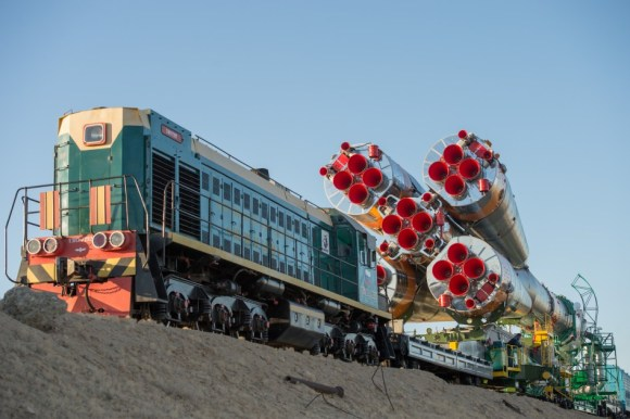 A  Soyuz rocket is rolled out to the launch pad by train on Monday, Sept. 23, 2013, at the Baikonur Cosmodrome in Kazakhstan. Credit: NASA/Carla Cioffi.