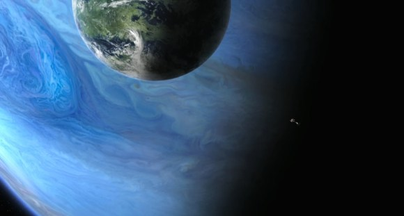 Artist's conception of an Earth-like exomoon orbiting a gaseous planet. Image credit: Avatar, 20th Century Fox