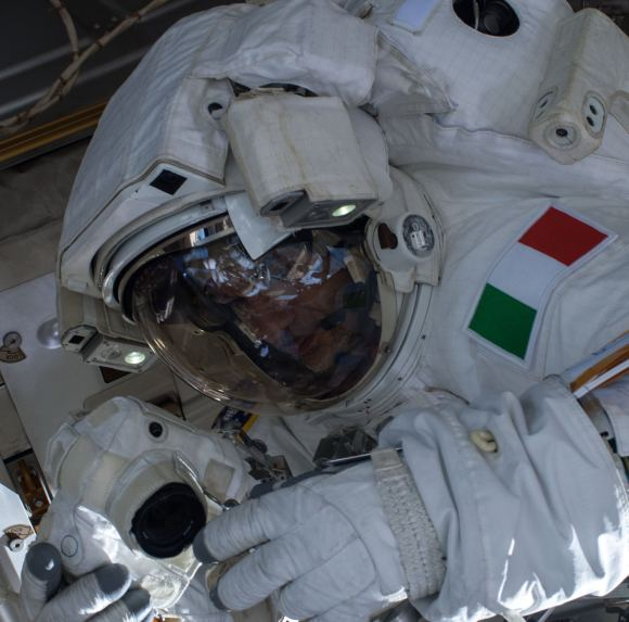 Luca Parmitano during a a spacewalk on July 16, 2013. An hour into the spacewalk, he reported water in his helmet and NASA cut the spacewalk short. Credit: NASA