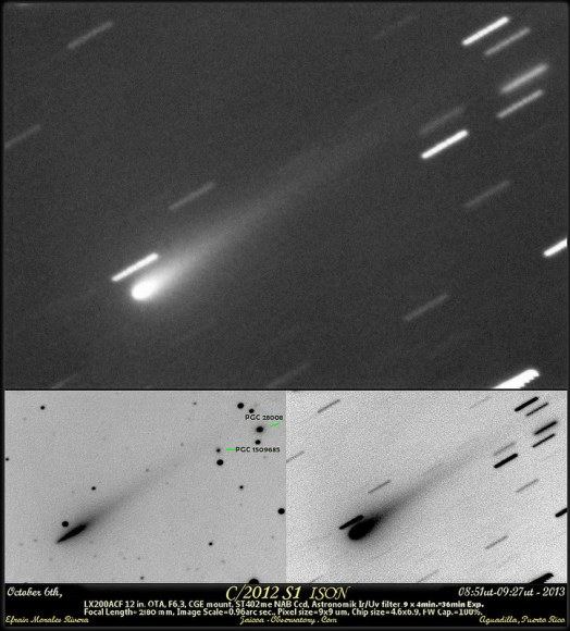 Comet ISON as imaged from Aguadilla, (sp) Puerto Rico recently on october 6th. (Credit: Efrain Morales Rivera).