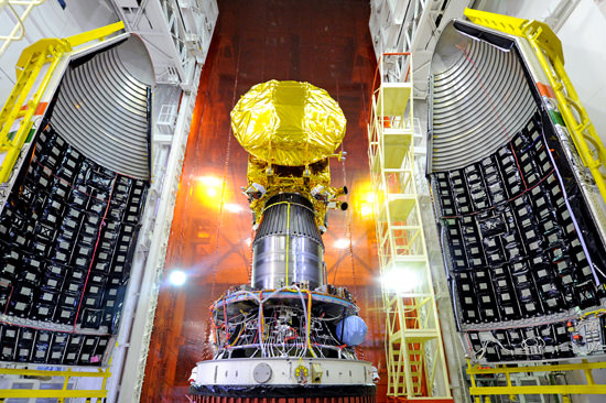 India's Mars Orbiter Mission (MOM) Spacecraft attached to the 4th stage of PSLV-C25 and ready for heat shield closure. It is slated to launch on Nov. 5, 2013. Credit: ISRO