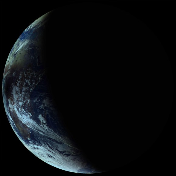 The Elektro-L satellite's view of how the Nov. 3, 2013 solar eclipse effected Earth. Blackness from the eclipse covers Africa. Credit: Elektro-L/Vitaliy EgorovVitaliy Egorov.