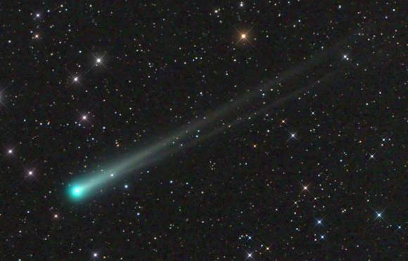 Comet ISON on Nov. 10 before the recent outburst with well-developed dust (upper) and gas tails. Click ot enlarge. Credit: Damian Peach