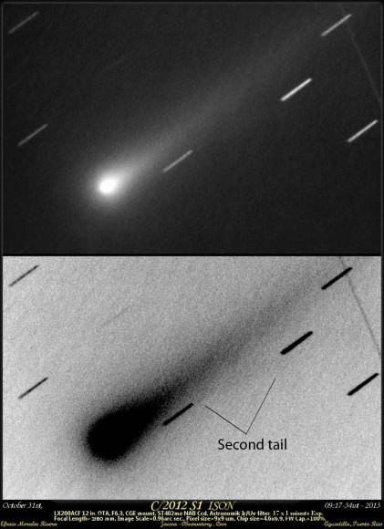 Early detection of ISON's possible ion tail on Oct. 31 by amateur astronomer Efrain Morales Rivera in a 12-inch telescope.