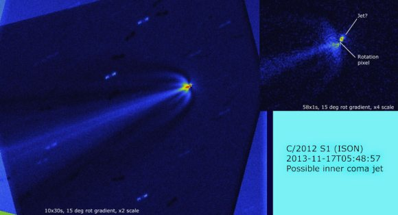 Processed images showing a possible jet next to Comet ISON' nucleus as well as the new wing-like coma structures on Nov. 17, 2013.  The jet's position angle or PA is 150 degrees or southeast of the nucleus. Credit: Denis Buczynski and Nick James