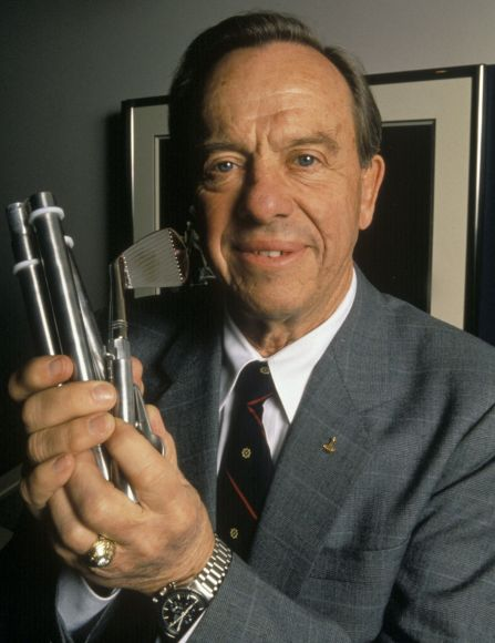 Apollo 14 astronaut Al Shepard holding a golf club he used during the moon mission in 1971. Here he is visiting the United States Golf Association Museum in Far Hills, NJ in 1995. Credit: Robert Walker/USGA