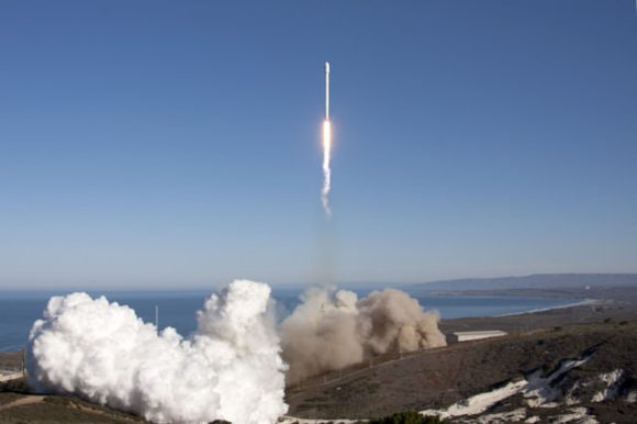 Falcon 9 lifts off from SpaceX's pad at Vandenberg on Sept 29, 2013, carrying Canada's CASSIOPE satellite to orbit. Credit: SpaceX