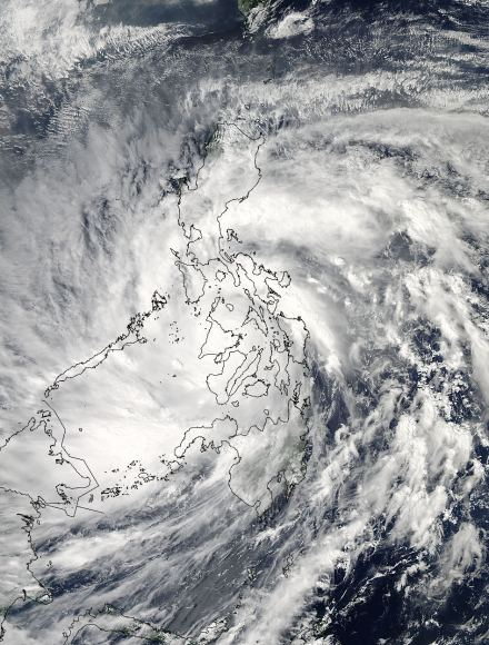 As Super-Typhoon Haiyan moved over the central Philippines on Nov. 8 at 05:10 UTC/12:10 a.m. EDT, the MODIS instrument aboard NASA's Aqua satellite captured this visible image.   Credit: NASA Goddard MODIS Rapid Response Team