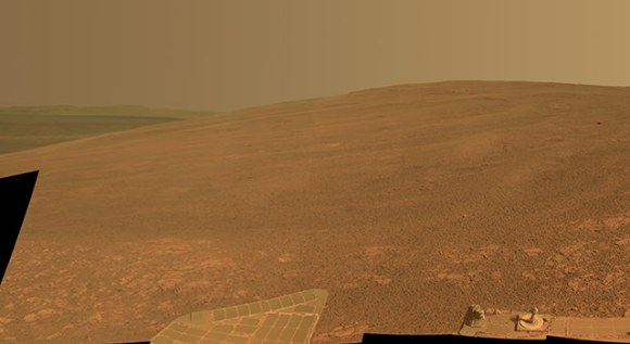 """This scene shows the """"Murray Ridge"""" portion of the western rim of Endeavour Crater on Mars. The ridge is the NASA's Mars Exploration Rover Opportunity's work area for the rover's sixth Martian winter. Image Credit: NASA/JPL-Caltech/Cornell/ASU"""