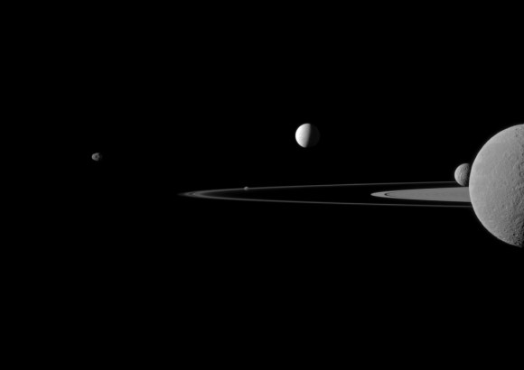 Saturn's moons (from left to right) Janus, Pandora, Enceladus, Mimas and Rhea. Rhea is on top of Saturn from the perspective of the Cassini spacecraft, which snapped the family portrait. Credit: NASA/JPL-Caltech/Space Science Institute