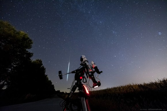 An early Draconid meteor caught by astrophotographer Cory Schmitz. (Used with permission?)