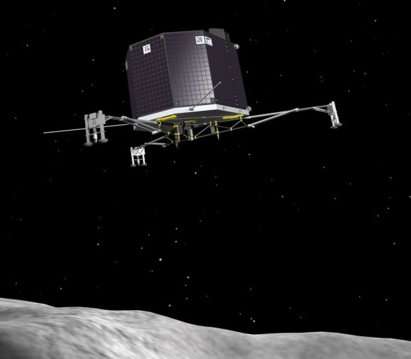 Artist's impression of Philae, the lander from the Rosetta spacecraft, descending to the surface of Comet 67P/Churyumov–Gerasimenko in November 2014. Credit: ESA–J. Huart, 2013