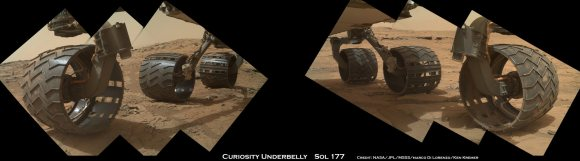 Photomosaic from Sol 177 (Feb. 3, 2013) shows rover Curiosity's six wheels relatively intact with far fewer holes and dents compared to Sol 490 mosaic taken on Dec 22. 2013.  Rover is working in Yellowknife Bay here and had not yet begun long trek to Mount Sharp. Sol 177 raw images assembled to mosaic were taken by the MAHLI camera on Curiosity's arm.  Credit: NASA/JPL/MSSS/Marco Di Lorenzo/Ken Kremer- kenkremer.com
