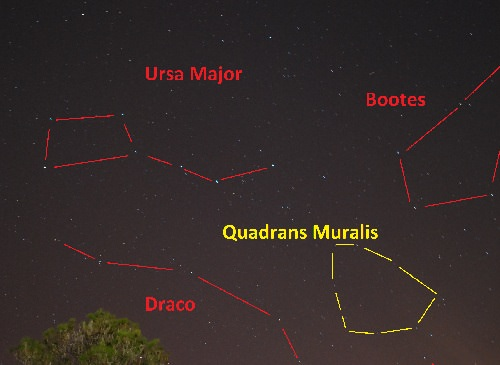 The outline of the Mural Quadrant against the backdrop of modern day constellations. (Photo and graphic by author).