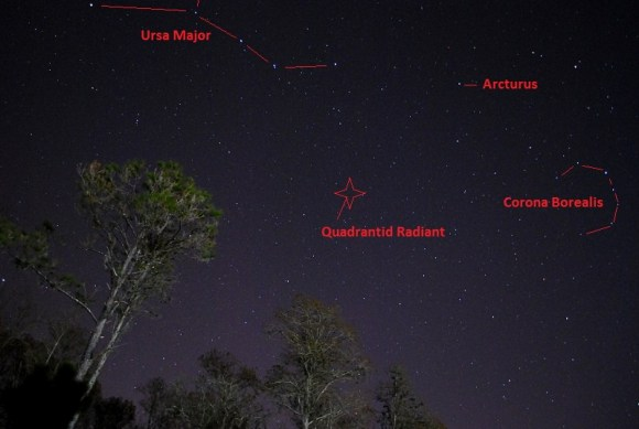 The modern radiant of the Quadrantid meteor shower. (Photo and grahpics by author).