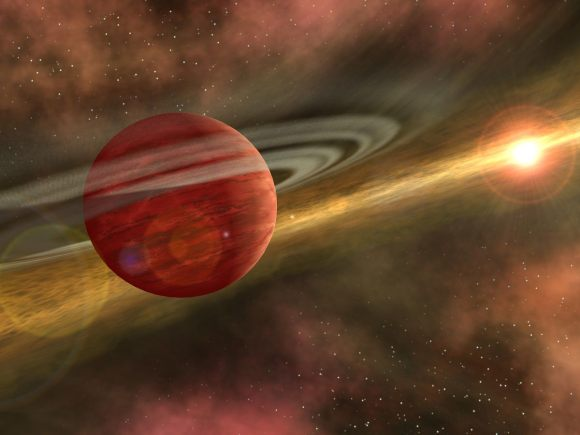 Artist's conception of a planet like HD106906 b. Visible in the picture is a debris disk and its distant host star. Credit: NASA/JPL-Caltech