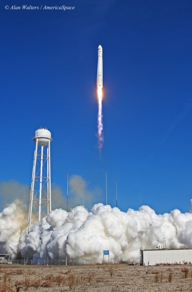 Orbital Sciences Antares rocket blasts off on Jan. 9, 2014 from NASA Wallops on Virginia coast on the Orb-1 mission bound for ISS.  Photo taken by remote camera at launch pad. Credit: Alan Walters/AmericaSpace/awaltersphoto.com