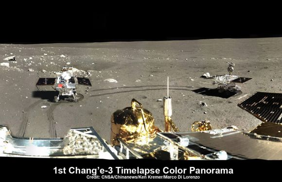 This time-lapse color panorama from China's Chang'e-3 lander shows the Yutu rover at two different positions during its trek over the Moon's surface at its landing site from Dec. 15-18, 2013. This view was taken from a 360-degree panorama – see below. Credit: CNSA/Chinanews/Ken Kremer/Marco Di Lorenzo