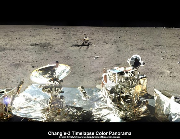 This composite view shows China's Yutu rover heading south and away forever from the Chang'e-3 landing site about a week after the Dec. 14, 2013 touchdown at Mare Imbrium. This cropped view was taken from the 360-degree panorama. See complete 360 degree landing site panorama below. Chang'e-3 landers extreme ultraviolet (EUV) camera is at right, antenna at left. Credit: CNSA/Chinanews/Ken Kremer/Marco Di Lorenzo – kenkremer.com