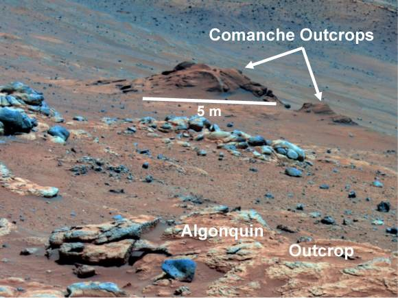 Carbonate-Containing Martian Rocks discovered by Spirit Mars Rover.  Spirit collected data in late 2005 which confirmed that the Comanche outcrop contains magnesium iron carbonate, a mineral indicating the past environment was wet and non-acidic, possibly favorable to life. This view was captured during Sol 689 on Mars (Dec. 11, 2005). The find at Comanche is the first unambiguous evidence from either Spirit or Opportunity for a past Martian environment that may have been more favorable to life than the wet but acidic conditions indicated by the rovers' earlier finds. Credit: NASA/JPL-Caltech/Cornell University