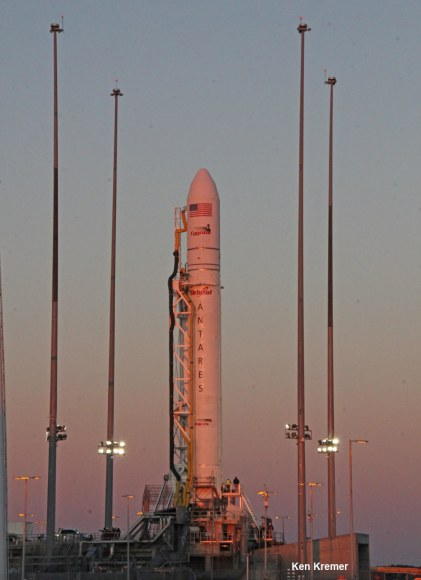 Antares commercial rocket spacecraft awaits Jan. 8 blastoff at Launch Pad 0A at NASA Wallops Flight Facility, VA. Credit: K