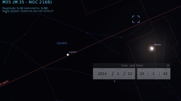 The position of the Moon Monday night on January 13th in Orion. Credit: Stellarium