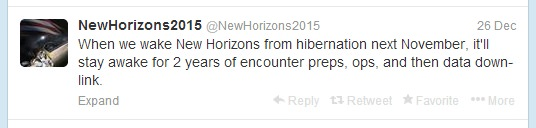 A recent tweet from @NewHorizons_2015, a spacecraft that launched just weeks before Twitter in 2006.