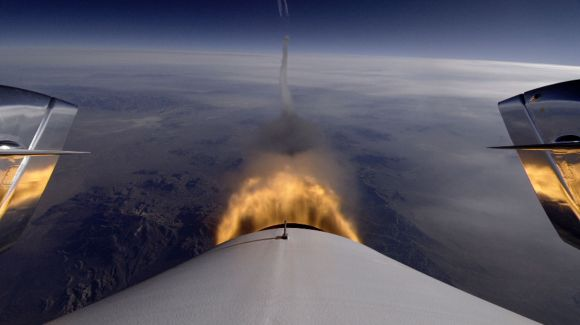 """Image from the """"tail cam"""" on SpaceShipTwo of engine ignition. Credit: Virgin Galactic."""