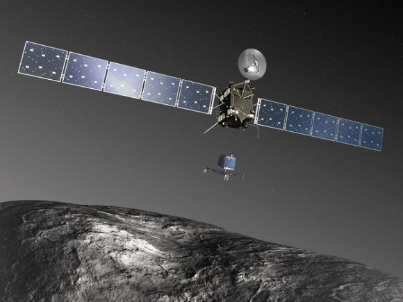 Artist's impression (not to scale) of the Rosetta orbiter deploying the Philae lander to comet 67P/Churyumov–Gerasimenko. Credit: ESA–C. Carreau/ATG medialab.