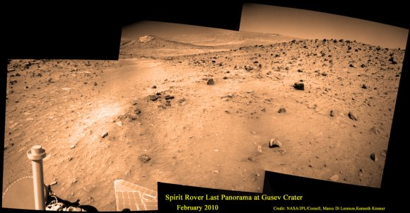 Last View from Spirit rover on Mars.  Spirit's last panorama from Gusev Crater was taken during February 2010 before her death from extremely low temperatures during her 4th Martian winter.  Spirit was just 500 feet from her next science target - dubbed Von Braun – at center, with Columbia Hills as backdrop.  Mosaic Credit: Marco Di Lorenzo/ Kenneth Kremer/ NASA/JPL/Cornell University.  Mosaic featured on Astronomy Picture of the Day (APOD) on 30 May 2011 - http://apod.nasa.gov/apod/ap110530.html