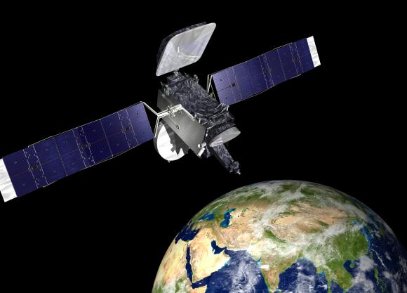 Thaicom 6 commercial broadcasting satellite in geosynchronous orbit, artists concept