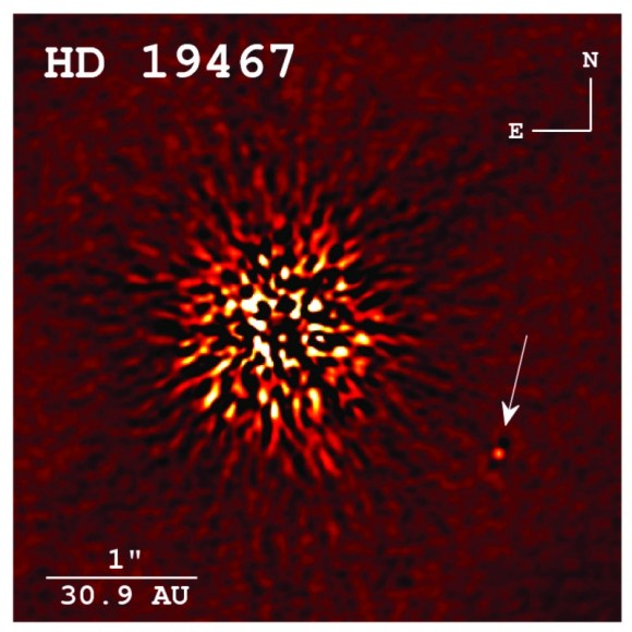 A direct image of a brown dwarf companion (arrowed) taken at the Keck Observatory. (Credit: Crepp et al. 2014 APJ).