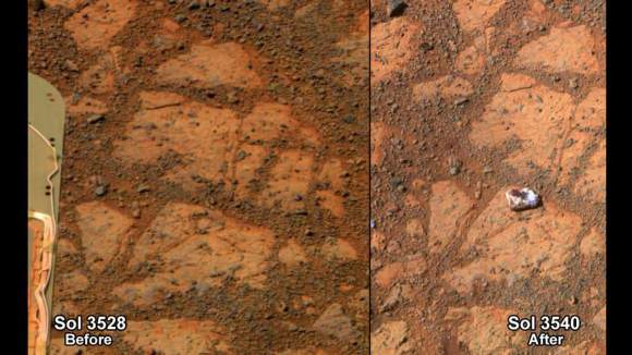 This before-and-after pair of images of the same patch of ground in front of NASA's Mars Exploration Rover Opportunity 13 days apart documents the arrival of a bright rock onto the scene.  Credit: NASA/JPL-Caltech/Cornell Univ./Arizona State Univ.
