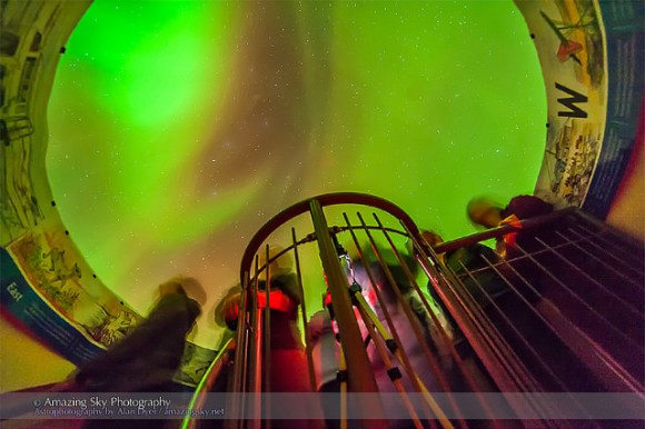 The aurora of February 3-4, 2014 seen from inside a plexigla