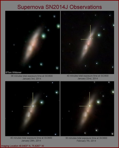 Comparison images from just before the supernova in M82 until Feb 7, 2014. Credit and copyright: Tom Wildoner.