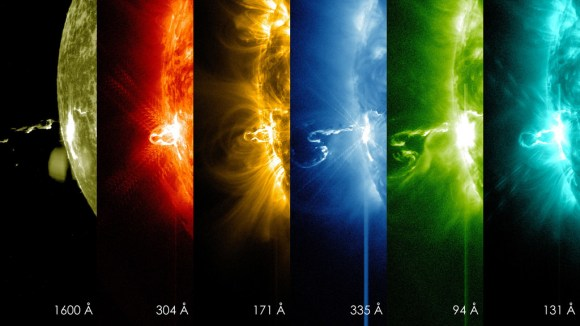 NASA's Solar Dynamics Observatory captured these images of a large flare erupting from the sun Feb. 21, 2014. Credit: NASA/SDO
