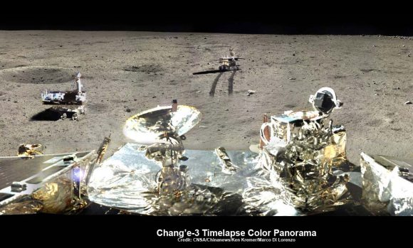 Yutu Timeplase Color Panorama  This newly expanded timelapse composite view shows China's Yutu rover at two positions passing by crater and heading south and away from the Chang'e-3 landing site forever about a week after the Dec. 14, 2013 touchdown at Mare Imbrium. This cropped view was taken from the 360-degree timelapse panorama. See complete 360 degree landing site timelapse panorama herein. Chang'e-3 landers extreme ultraviolet (EUV) camera is at right, antenna at left. Credit: CNSA/Chinanews/Ken Kremer/Marco Di Lorenzo – kenkremer.com.   See our complete Yutu timelapse pano at NASA APOD Feb. 3, 2014:  http://apod.nasa.gov/apod/ap140203.htm