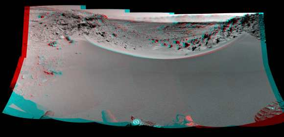 Curiosity's 3-D View Past Tall Dune at edge of 'Dingo Gap' This stereo mosaic of images from the Navigation Camera (Navcam) on Curiosity shows the terrain to the west from the rover's position on Sol 528 (Jan. 30, 2014). The s