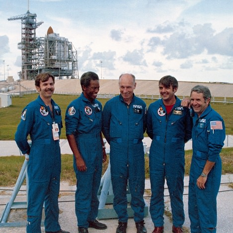 Dale Gardner (left) prior to the launch of STS-8 in 1983, along with the rest of his crew. Moving left, Guy Bluford, Bill Thornton, Daniel Brandenstein and Dick Truly. Credit: NASA