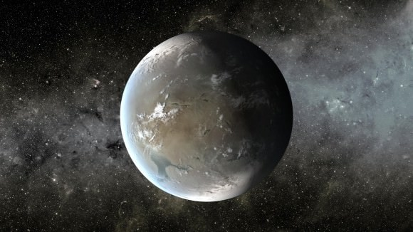 Kepler-62f, an exoplanet that is about 40% larger than Earth. It's located about 1,200 light-years from our solar system in the constellation Lyra. Credit: NASA/Ames/JPL-Caltech