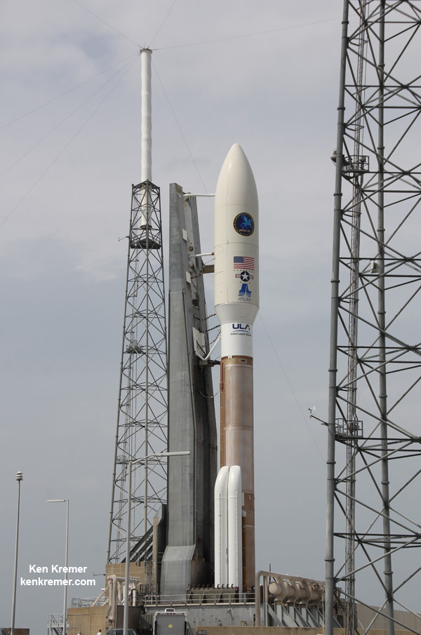 Atlas V rocket - powered by Russian made RD-180 engines - and Super Secret NROL-67 intelligence gathering payload following rollout to Space Launch Complex 41 at Cape Canaveral Air Force Station, FL, on March 24, 2014. Credit: Ken Kremer - kenkremer.com