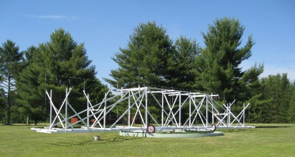 A replica of Jansky's first steerable antanta at Green Bank, West Virginia.