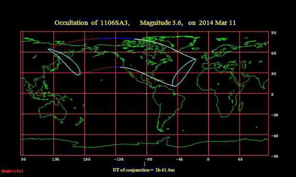 Map showing where the occulation of Lambda Gem will be visible. Credit: International Occultation Timing Assn. (IOTA)