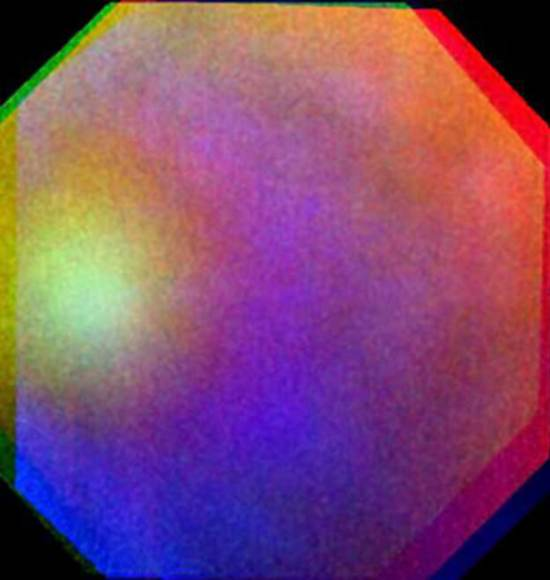 False colour composite of a 'glory' seen on Venus on 24 July 2011. The image is composed of three images at ultraviolet, visible, and near-infrared wavelengths from the Venus Monitoring Camera. The images were taken 10 seconds apart and, due to the motion of the spacecraft, do not overlap perfectly. The glory is 1200 km across, as seen from the spacecraft, 6000 km away. Credit: ESA/MPS/DLR/IDA.